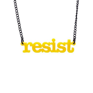 model wears chilli red frost typewriter font resist necklace