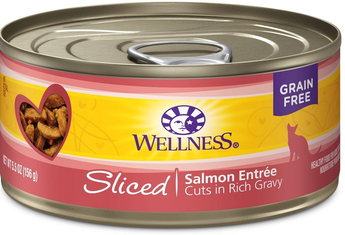 Wellness Grain Free Natural Sliced Salmon Entree Wet Canned Cat Food