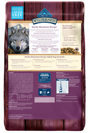 Blue Buffalo Wilderness Rocky Mountain Grain Free Bison High Protein Recipe Adult Dry Dog Food