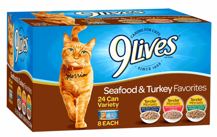 9 Lives Seafood and Turkey Favorites Variety Pack Canned Cat Food
