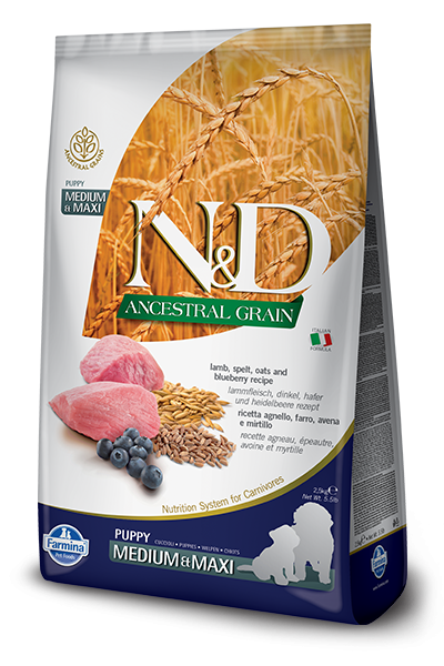 Farmina N&D Natural & Delicious Low Grain Medium & Maxi Puppy Lamb & Blueberry Dry Dog Food
