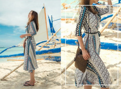 Long summer stamped dress