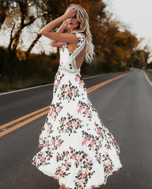 Maxi flower print lace  dress