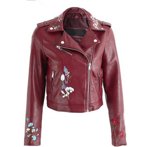 Embroidery faux leather jacket