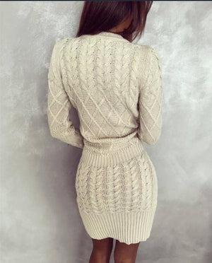 Long Sleeve Bodycon Dress Casual Knitted Dress