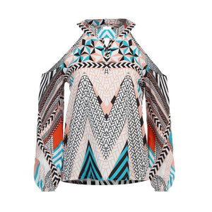 Off Shoulder Retro Geometry Printed Blouse