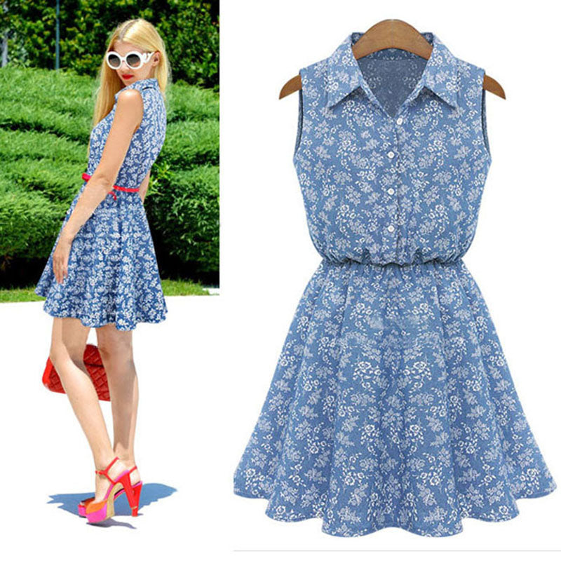 Blue flowers Sleeveless Casual  Dress