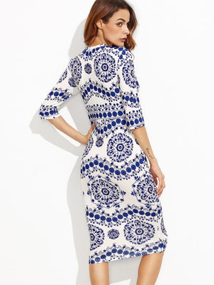 Half Sleeve Blue and White Porcelain dress