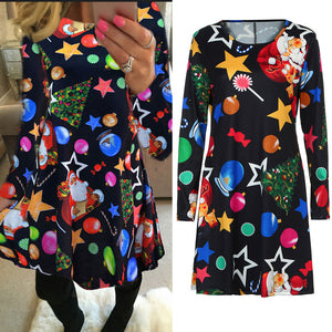 Womens Round Neck Long Sleeve Christmas Print Swing Flared Dress