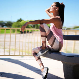 Women Sports stripped leggings