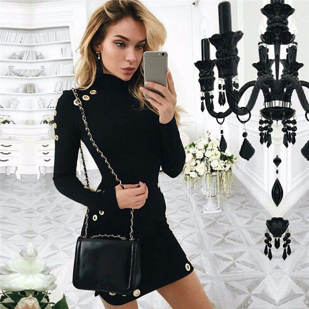 Women Sexy Black High-Necked Long Sleeve Package Hip Slim Dress