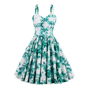 Blue Green Cotton A-line Dress