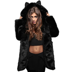 Cute coat faux fur with ears