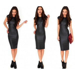 Faux Leather Sexy Skinny Dress