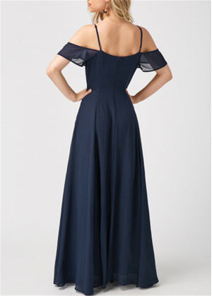 Elegant Navy Blue V Neck Maxi Evening Party dress