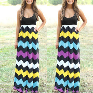 Womens Striped Long Boho dress