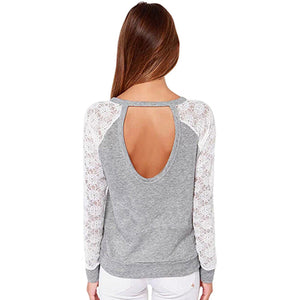 Long Sleeve Sexy Lace Shirts Backless Embroidery Knitted Top PLUS SIZE AVAILABLE