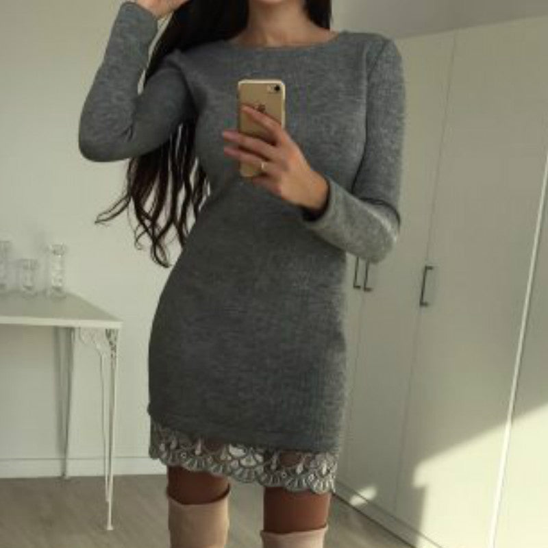 Patchwork Long Sleeves Mini  Dresses