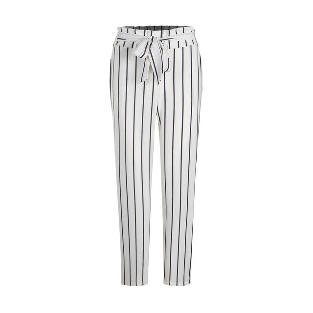 Loose White Striped Causal Pants formal trousers.