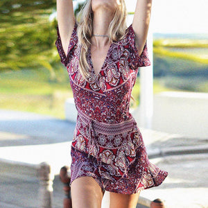 Short Sleeve Boho Floral dress up to 5XL size available!