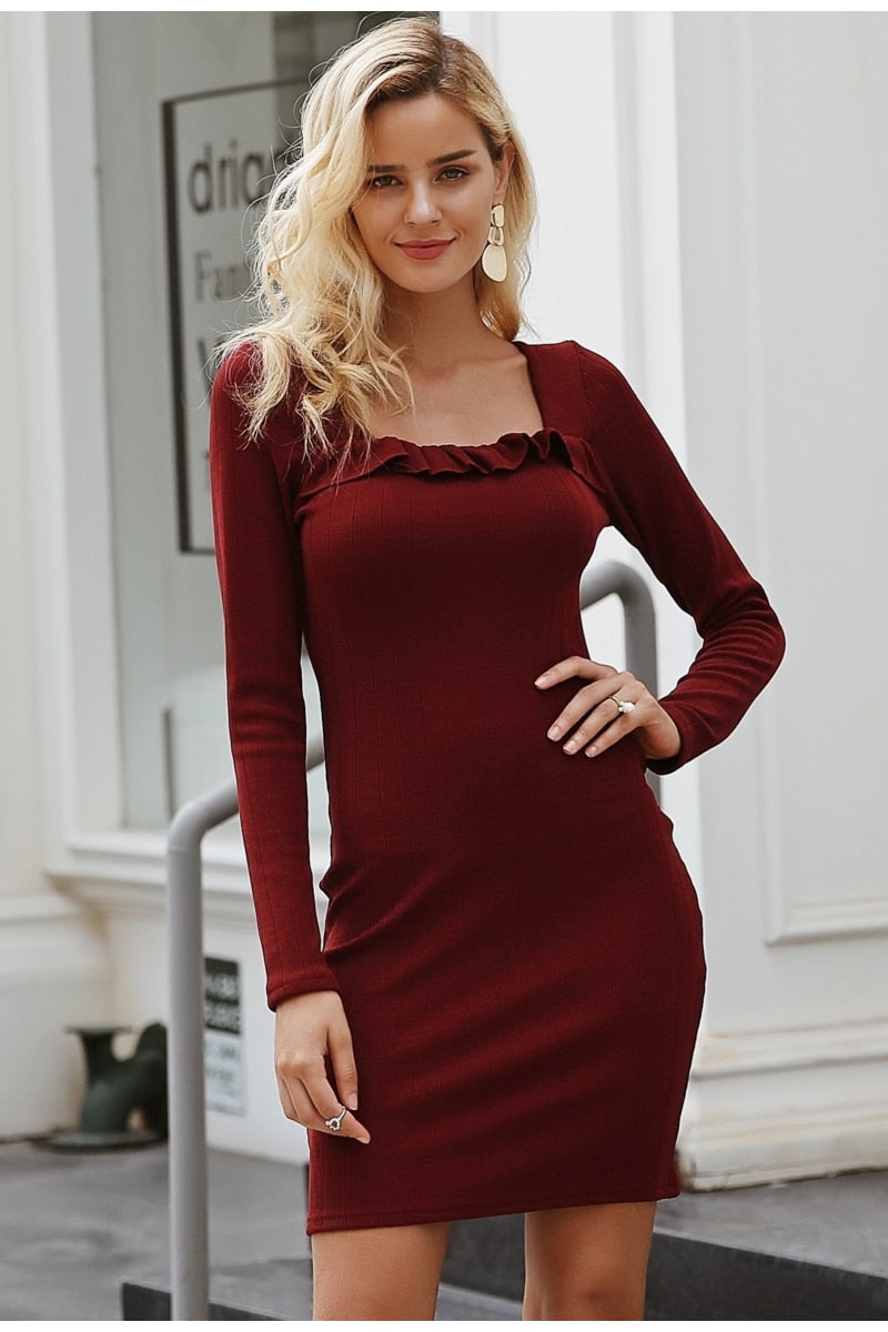 Autumn-winter sexy square neck dress