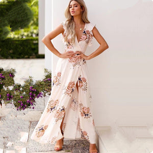 2018 Fashion flower print maxi dress