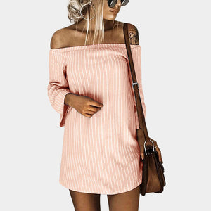 Autumn Winter Off the shoulder Mini Dress Long Sleeves