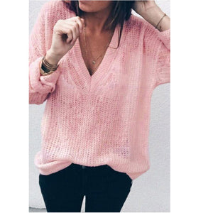 Women Solid Long Sleeve V-Neck sweater