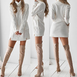 Turtleneck Warm Long Sleeve Mini Dress