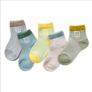 5 Pairs Pack Infant Summer Socks With Embellishments