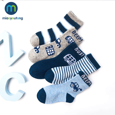 5 pair Car Text Safe Comfort Boy Knit Soft Socks