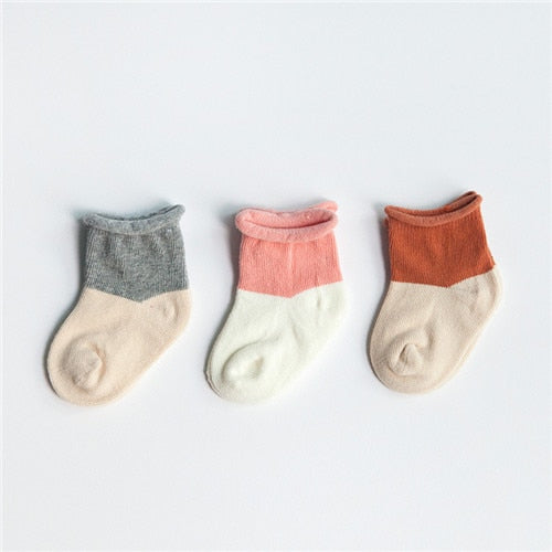 3 Pairs Baby Girl Striped Warm Socks