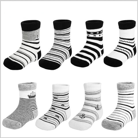 4 Pair/lot Baby Boy Anti Slip Stripes Ankle Socks