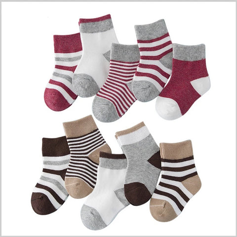 5 Pair/lot Baby Boy Striped Socks