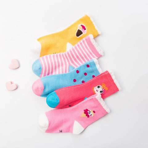 5pair  Comfort Newborn Knit Soft Baby Girl Socks