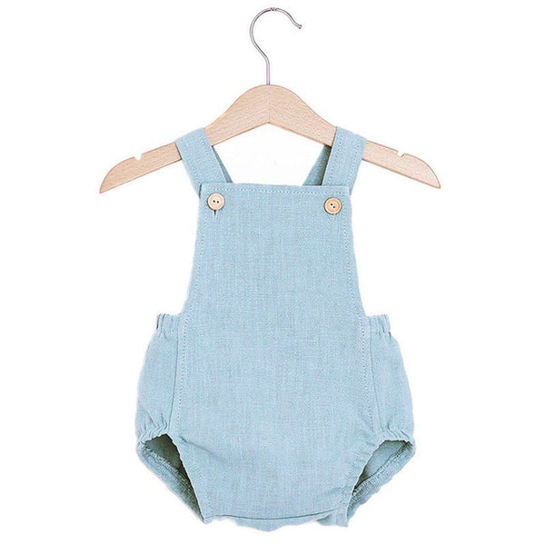 baby boys blue shoulder strap romper