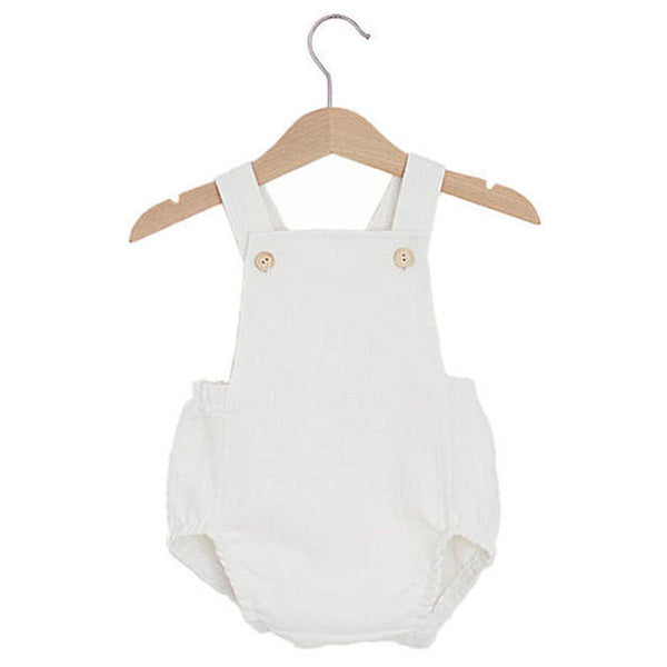 baby boys white shoulder stripped romper