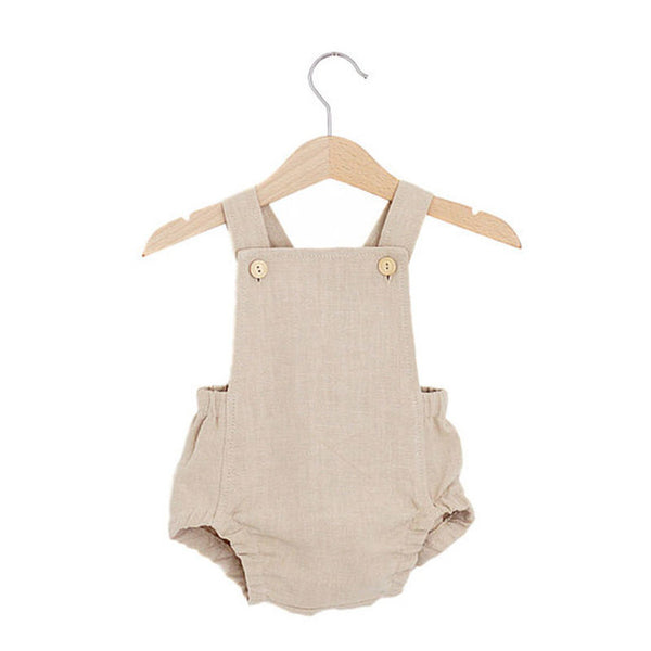 baby boys old fashion khaki shoulder strap romper