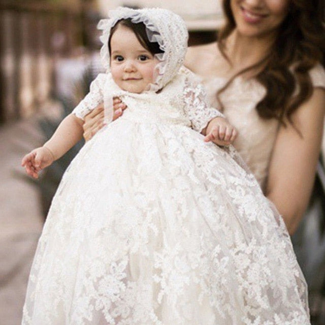 Baby Girls Christening Baptism Gown Full Lace