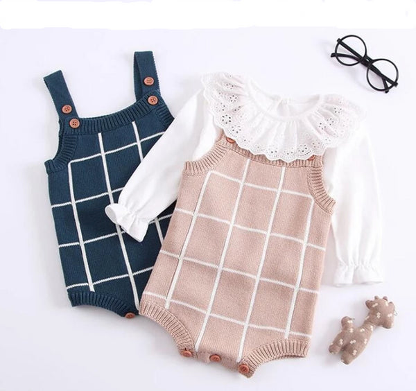 Baby Girls Plaid Knitted Woolen Romper