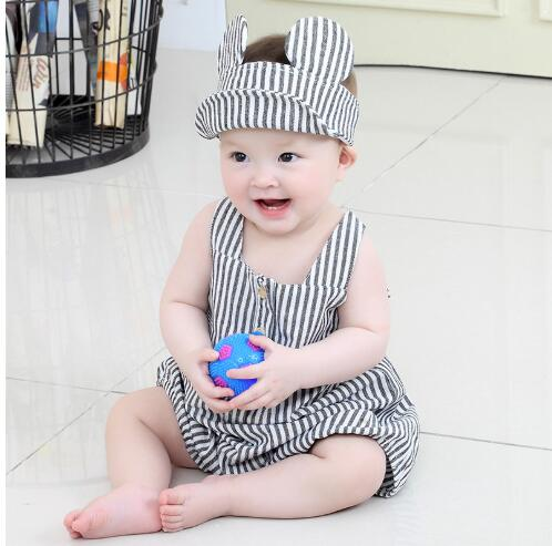 Baby Boys Striped Sailor Collar Romper