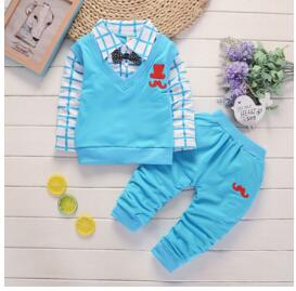 Boys Cotton Long Sleeve t-shirts+pants Sports Suit