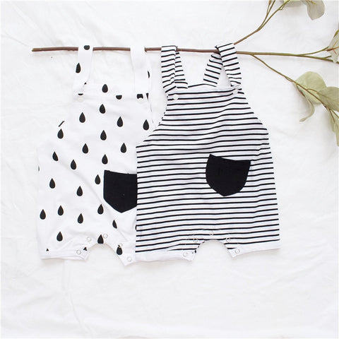 baby boy black and white 1 pocket romper