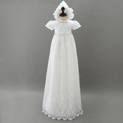 Ivory Princess Gown Baby Christening Dresses Floor-length