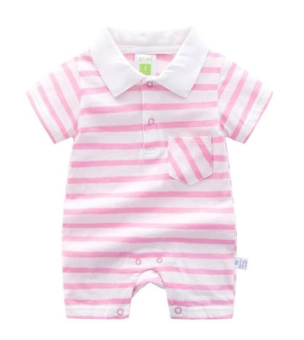 Baby Girls Striped Short Sleeved Romper