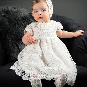 long white cotton and lace christening gown with bonnet