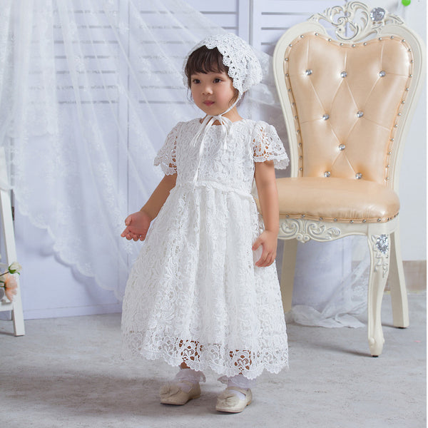 antique style white lace christening gown