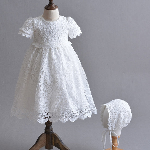 vintage style lace christening gown with bonnet