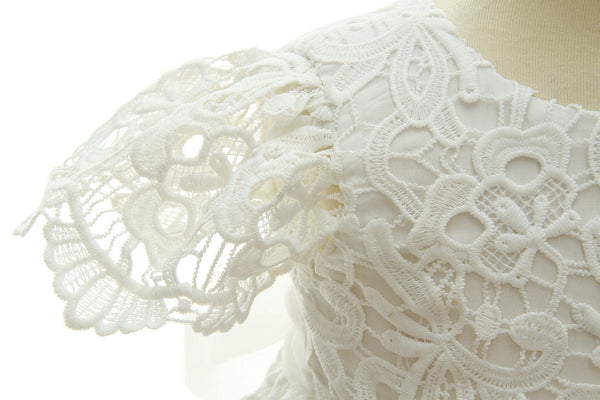 short sleeve lace christening gown