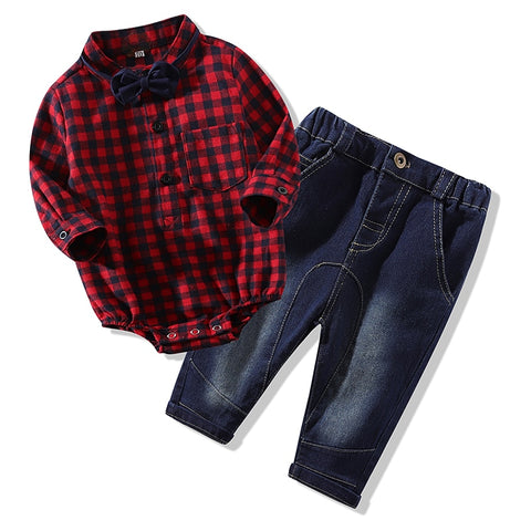 Baby Boys 2Pcs Red Plaid Rompers shirts+jeans  set